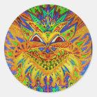 Louis Wain - Blue Paisley Cat Classic Round Sticker