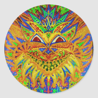 Louis Wain - Blue Paisley Cat Classic Round Sticker