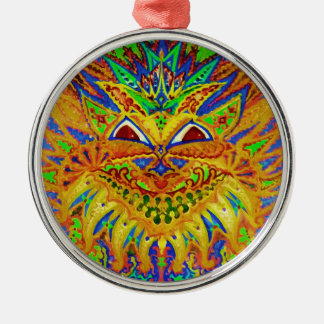 Louis Wain - Blue Paisley Cat Silver-Colored Round Decoration