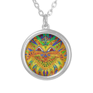 Louis Wain - Blue Paisley Cat Silver Plated Necklace