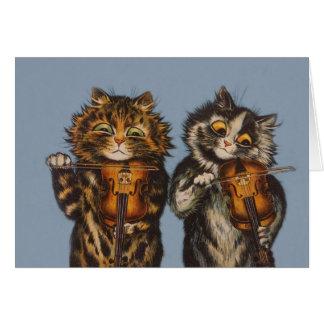 Louis Wain - Cat Violinists - Anthropomorphic Art Greeting Card