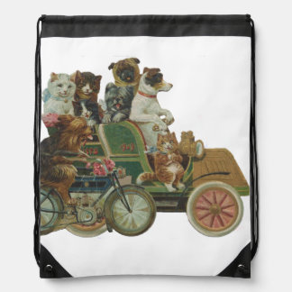 Louis Wain Cats and Dogs in Antique Car Drawstring Bag