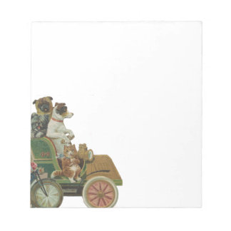 Louis Wain Cats and Dogs in Antique Car Notepad