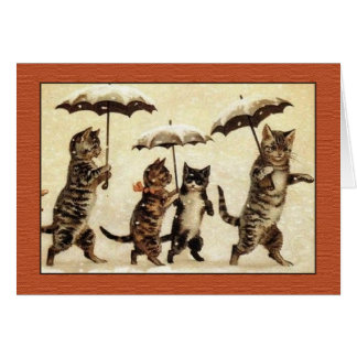 Louis Wain Cats with Umbrellas Greeting Card
