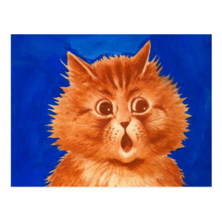 Louis Wain Surprised Orange Cat Postcard