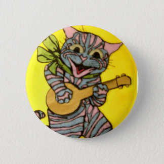 Louis Wain Ukulele Cat Artwork 6 Cm Round Badge