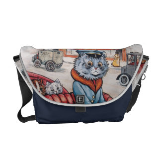 Louis Wain - Vintage Cat and Kittens Go to Town Commuter Bags