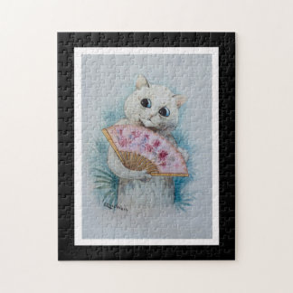 Louis Wain White Cat with Pink Fan Puzzles