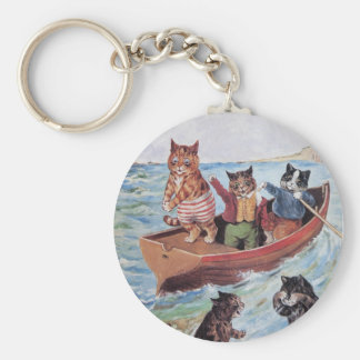 Louis Wain's Swimming Cats Basic Round Button Key Ring