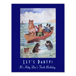 Louis Wain's Swimming Cats Birthday Party 11 Cm X 14 Cm Invitation Card