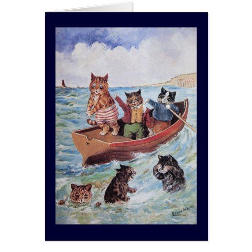 Louis Wain's Swimming Cats Greeting Card