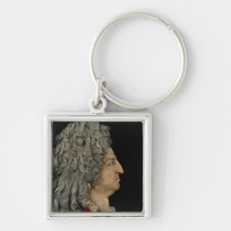 Louis XIV  1706 Silver-Colored Square Key Ring