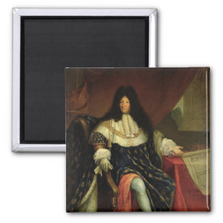Louis XIV  Holding a Plan of the Maison Royale Square Magnet