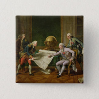 Louis XVI  Giving Instructions to La Perouse 15 Cm Square Badge