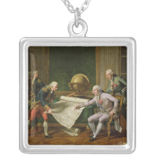 Louis XVI  Giving Instructions to La Perouse Silver Plated Necklace