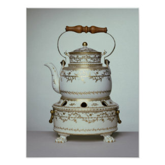 Louis XVI porcelain kettle and stand made in Poster