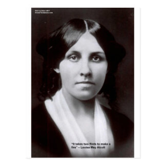 Louisa May Alcott 2 Flints Love Quote Cards & Gift Postcard
