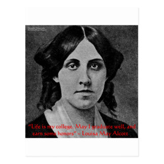 "Louisa May Alcott ""Life Is My College"" Quote Gifts Postcard"
