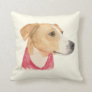 Louise Boxer Beagle Watercolor Throw Pillow