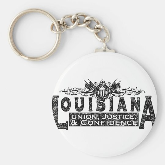 Louisiana Basic Round Button Key Ring