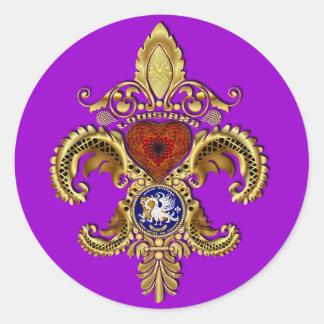 Louisiana Bicentennial Mardi Gras View Hints Round Sticker
