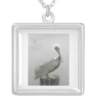 Louisiana Brown Pelican Square Pendant Necklace