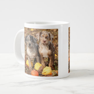 Louisiana Catahoula Puppies With Pumpkins Large Coffee Mug