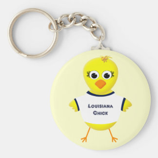 Louisiana Chick Cute Cartoon Chicken Basic Round Button Key Ring