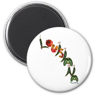 Louisiana Chili Peppers 6 Cm Round Magnet