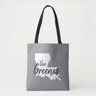Louisiana Family Monogram State Tote Bag