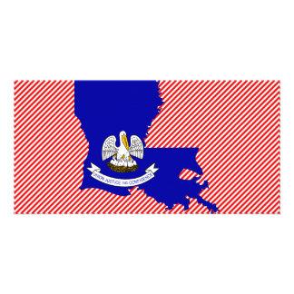 Louisiana Flag Map Personalised Photo Card