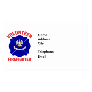 Louisiana Flag Volunteer Firefighter Cross Double-Sided Standard Business Cards (Pack Of 100)