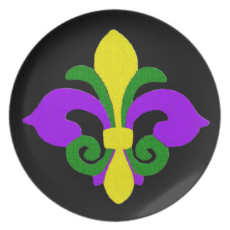 Louisiana Fleur de lis (Mardi Gras).jpg Party Plate