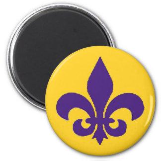 Louisiana Fleur de Lis Purple Gold Magnet