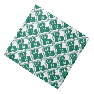 Louisiana Green & White Highway 14 Bandana