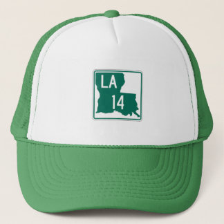 Louisiana Green & White Highway 14 Trucker's Hat