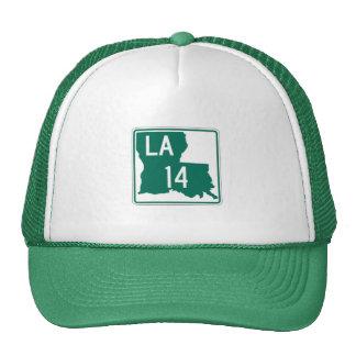 Louisiana Green & White Highway 14 Trucker's Hat