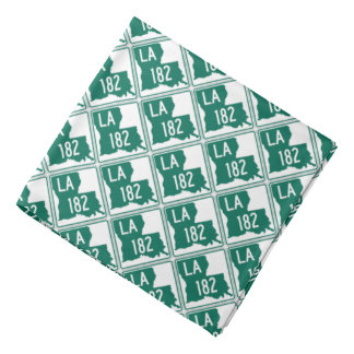 Louisiana Green & White Highway 182 Bandana