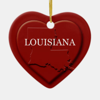 Louisiana Heart Map Christmas Ornament