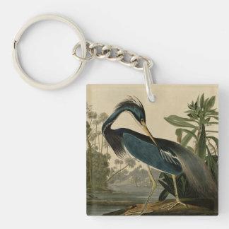 Louisiana Heron Double-Sided Square Acrylic Key Ring