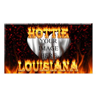 Louisiana Hottie fire and red marble heart. Pack Of Standard Business Cards