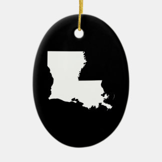 Louisiana in White and Black Christmas Ornament