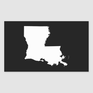 Louisiana in White and Black Rectangular Sticker