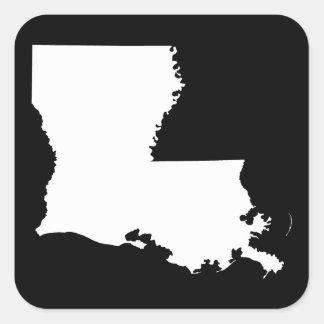 Louisiana in White and Black Square Sticker