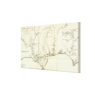 Louisiana Map Canvas Print