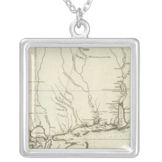 Louisiana Map Silver Plated Necklace
