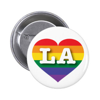 Louisiana or Los Angeles Gay Pride Rainbow Heart 6 Cm Round Badge