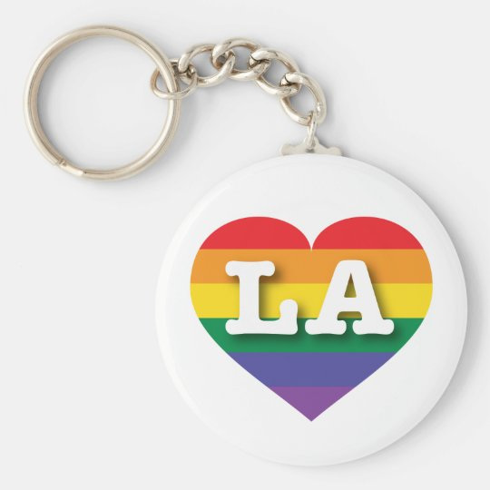 Louisiana or Los Angeles Gay Pride Rainbow Heart Key Ring