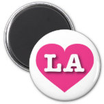 Louisiana or Los Angeles Hot Pink Heart - Big Love 6 Cm Round Magnet