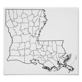 Louisiana Parishes Blank Outline Map Poster